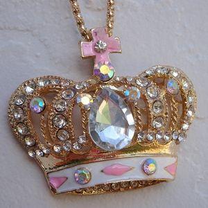 Big Gold & Pink Jewel Crown Charm Queen Necklace
